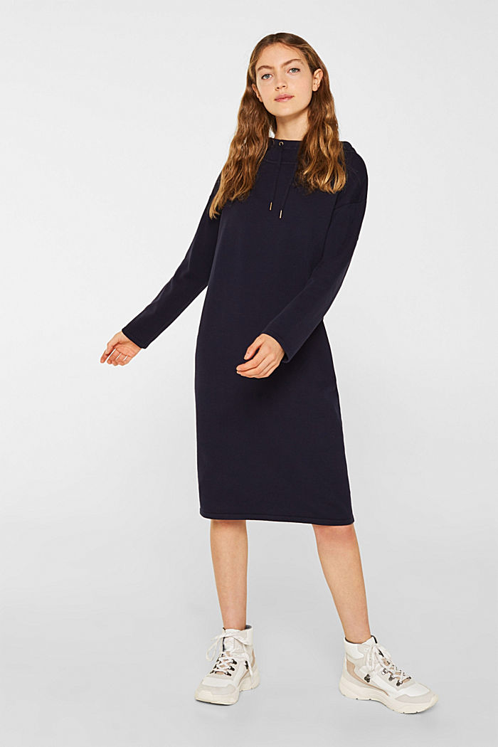 Knitted colour block hoodie dress made of knit, NAVY, detail image number 1