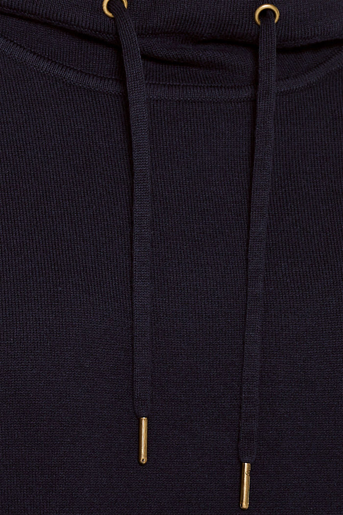 Knitted colour block hoodie dress made of knit, NAVY, detail image number 4