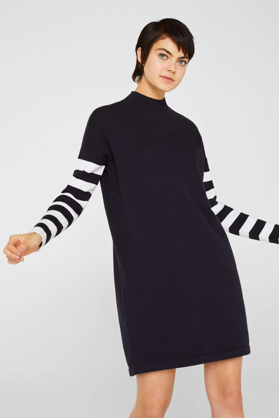 Knit dress with stripes, 100% cotton, NAVY 2, detail image number 0