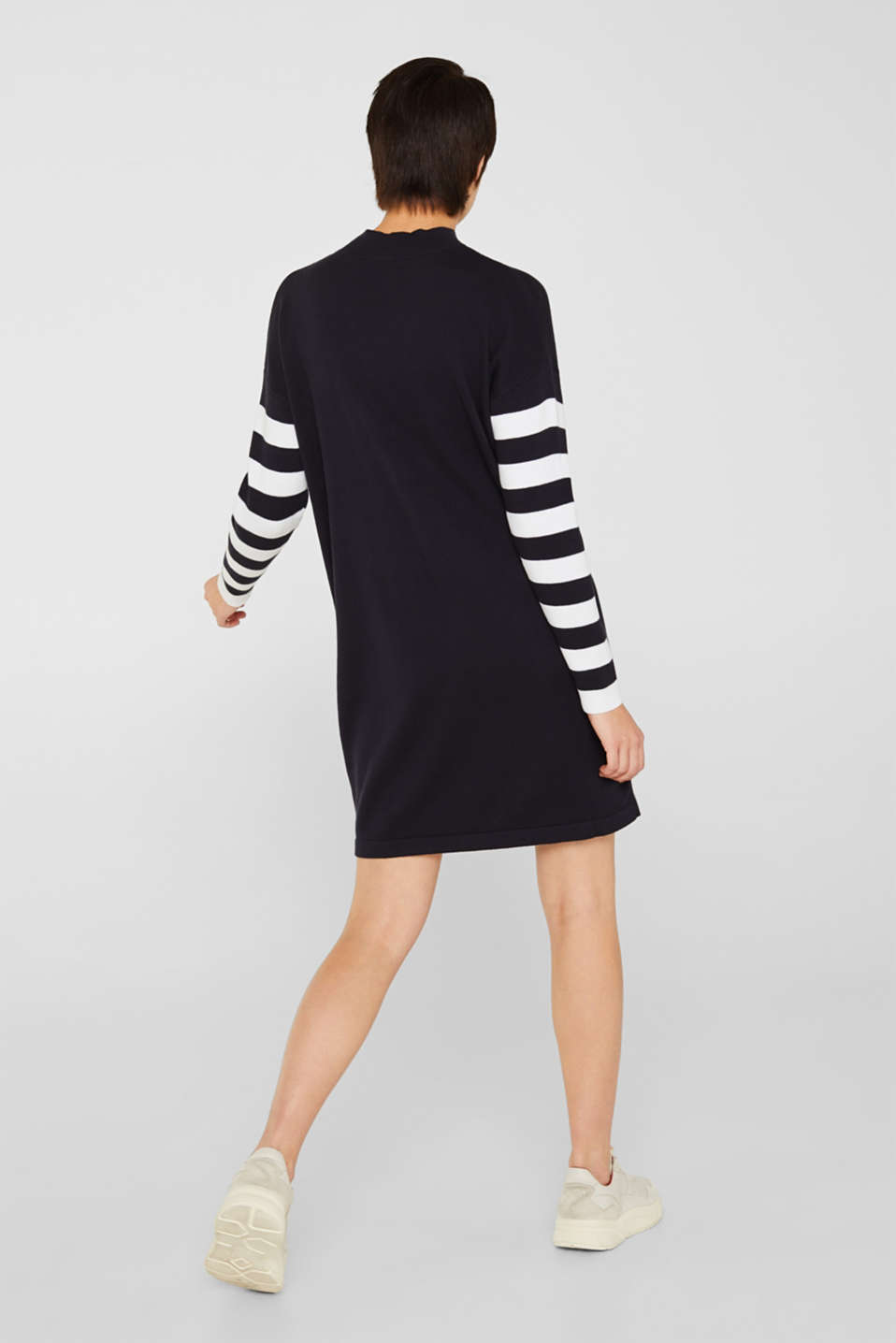 Knit dress with stripes, 100% cotton, NAVY 2, detail image number 2