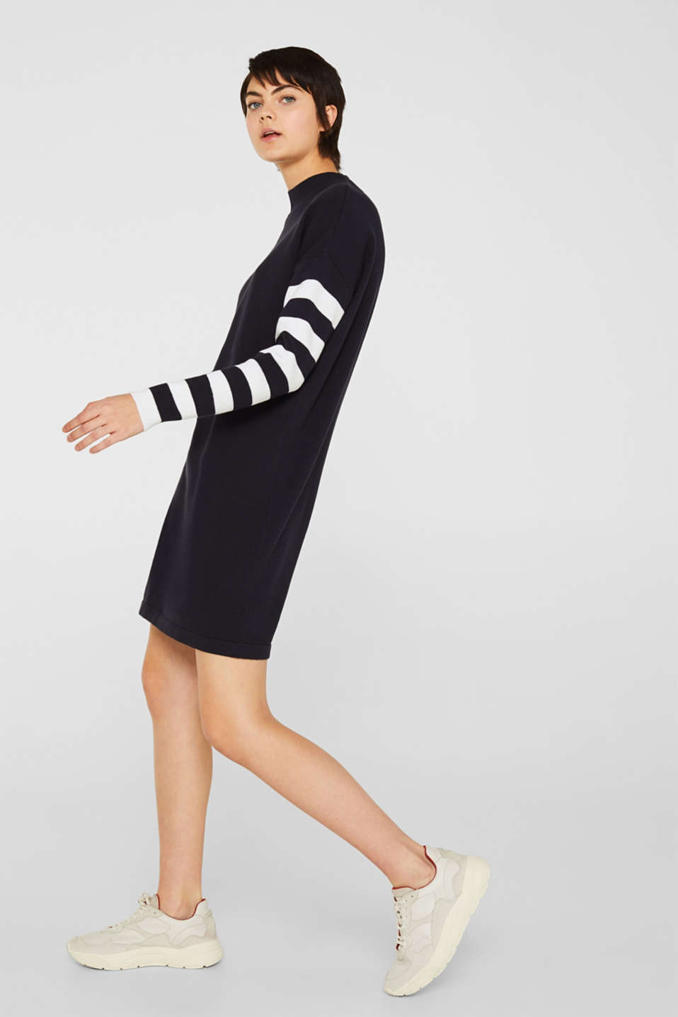 Knit dress with stripes, 100% cotton, NAVY 2, detail image number 4