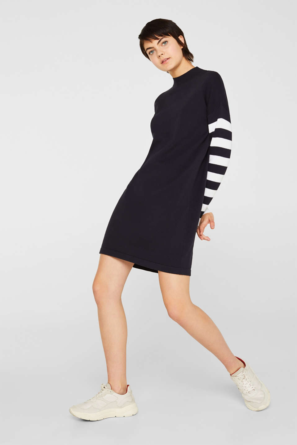Knit dress with stripes, 100% cotton, NAVY 2, detail image number 1