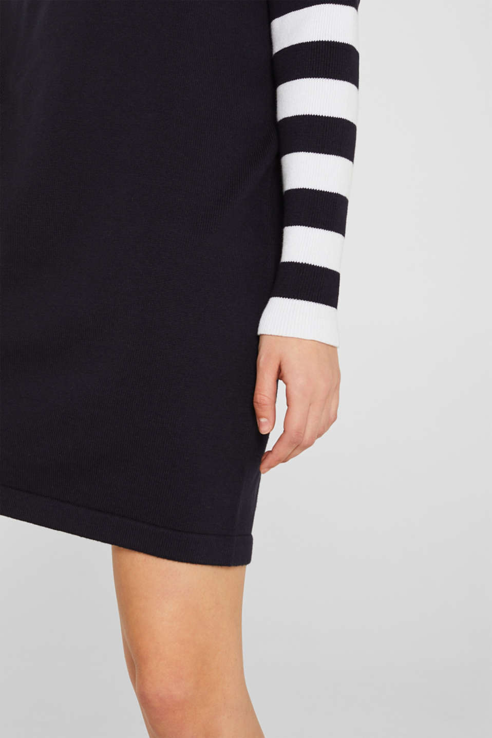 Knit dress with stripes, 100% cotton, NAVY 2, detail image number 6