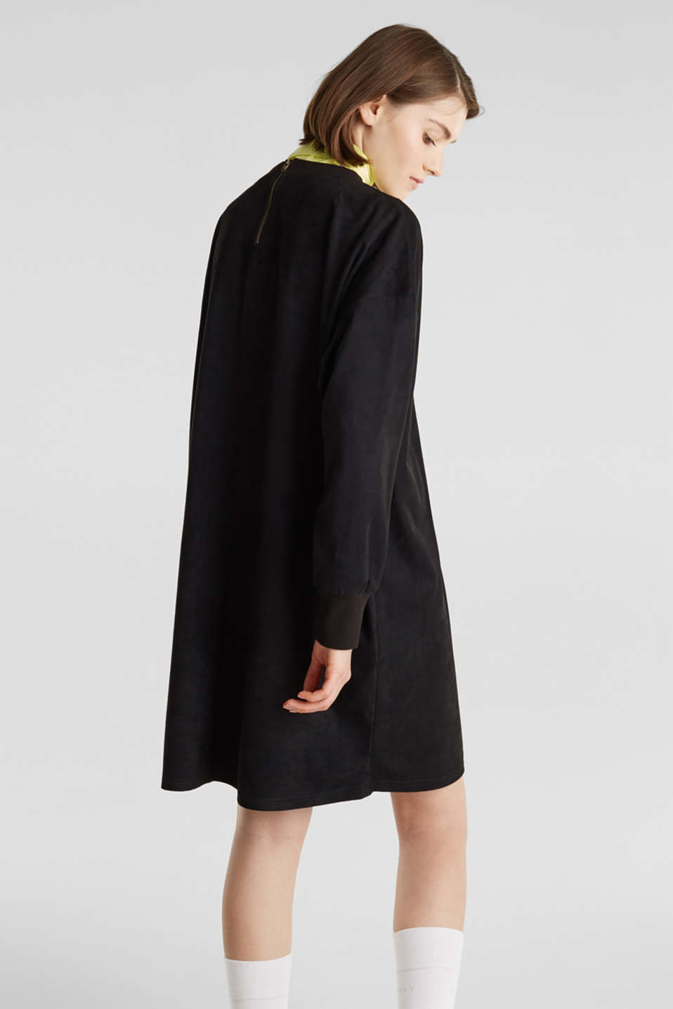 Oversized dress made of stretch velour, BLACK, detail image number 3