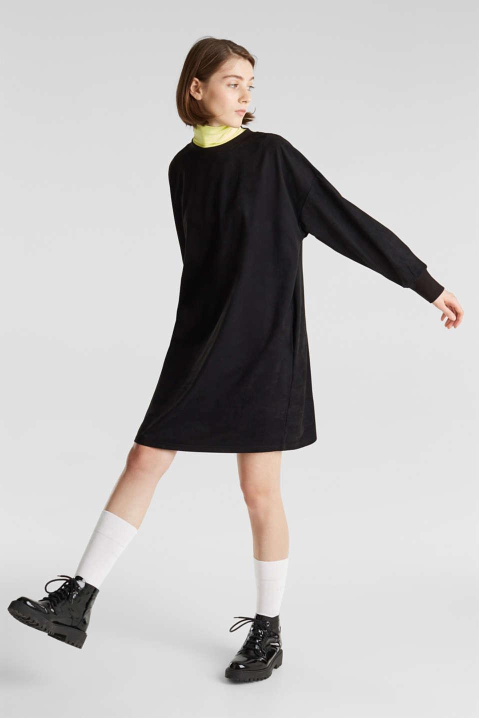 Oversized dress made of stretch velour, BLACK, detail image number 1