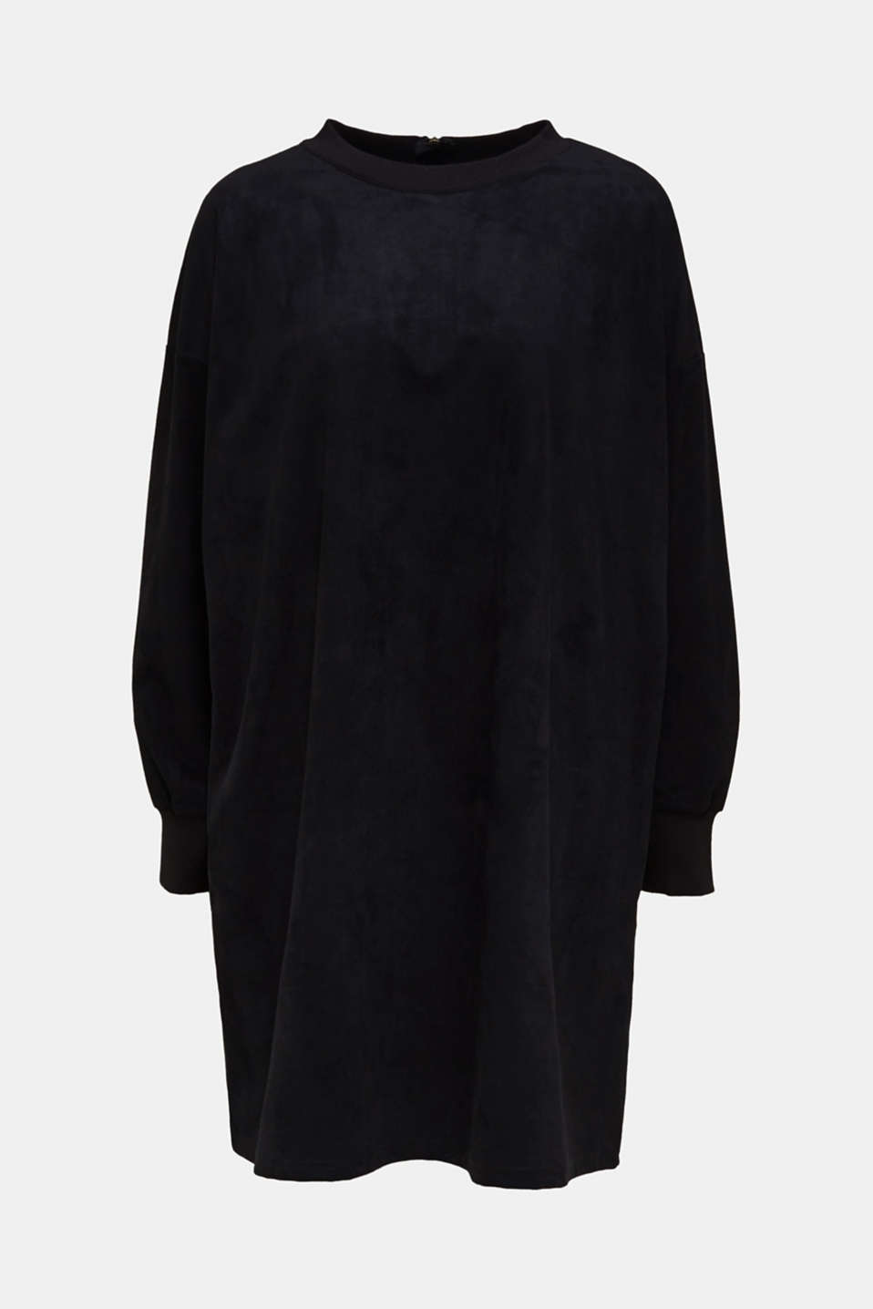 Oversized dress made of stretch velour, BLACK, detail image number 6