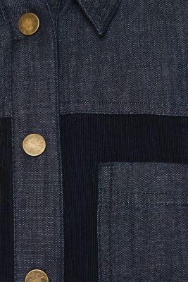 Stretch dress made of corduroy and denim, NAVY, detail