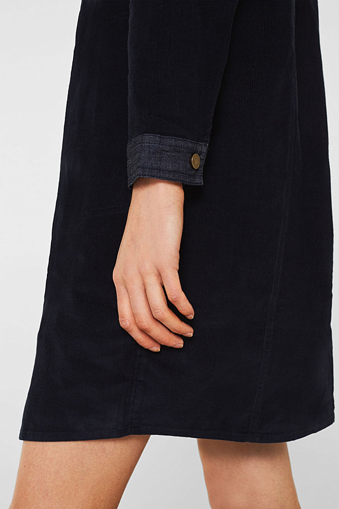 Stretch dress made of corduroy and denim, NAVY, detail image number 6