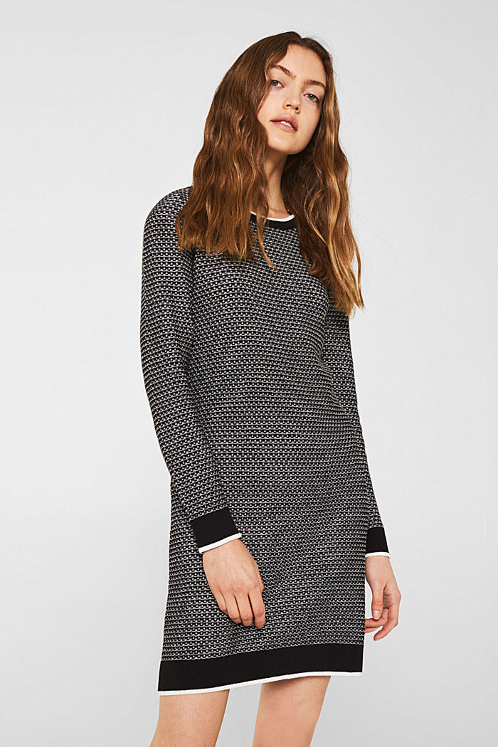 Knit dress with texture, 100% cotton, BLACK, detail image number 0