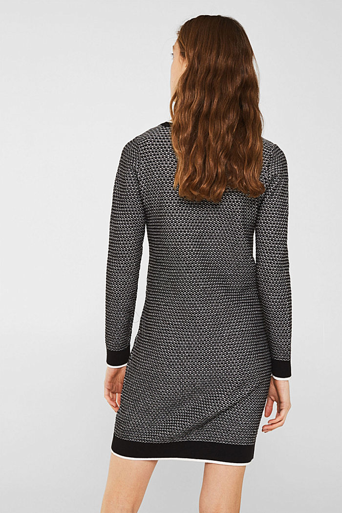 Knit dress with texture, 100% cotton, BLACK, detail image number 2