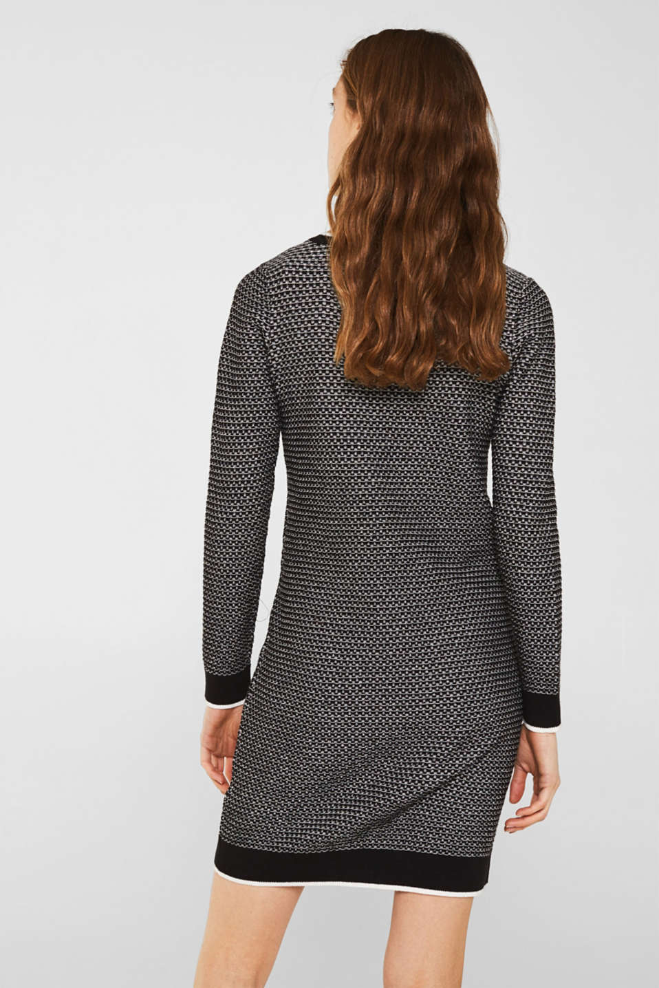 Knit dress with texture, 100% cotton, BLACK 2, detail image number 2