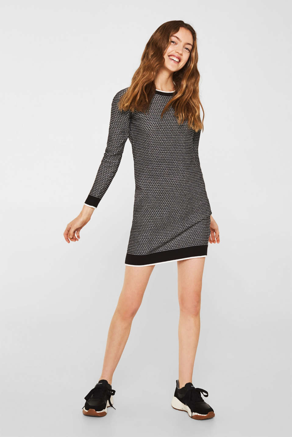 Knit dress with texture, 100% cotton, BLACK 2, detail image number 5