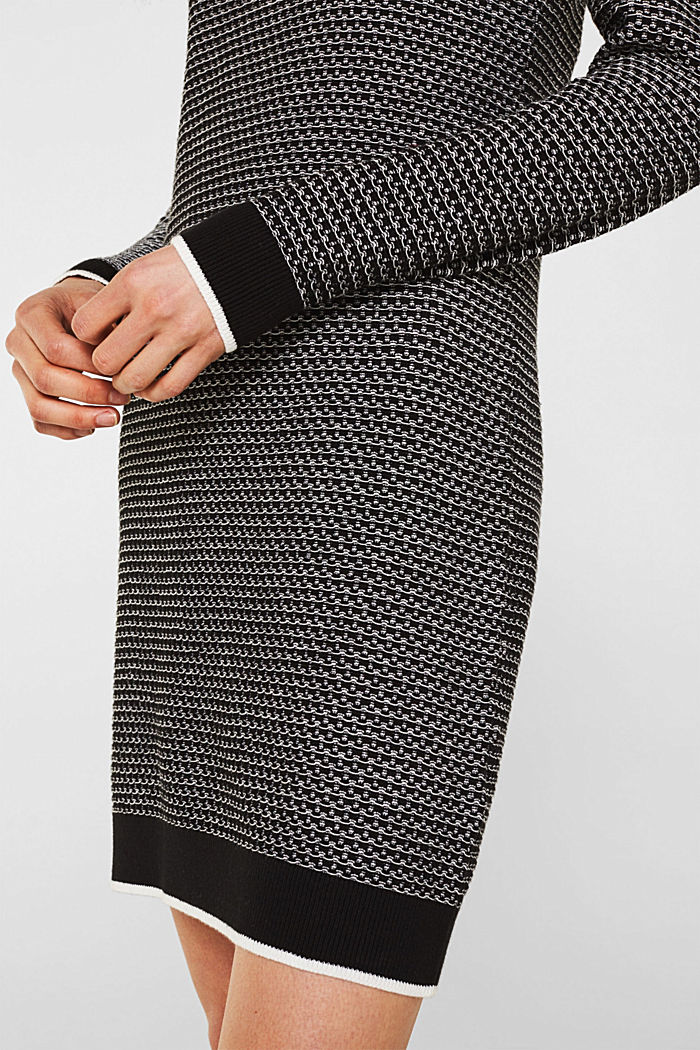 Knit dress with texture, 100% cotton, BLACK, detail image number 3