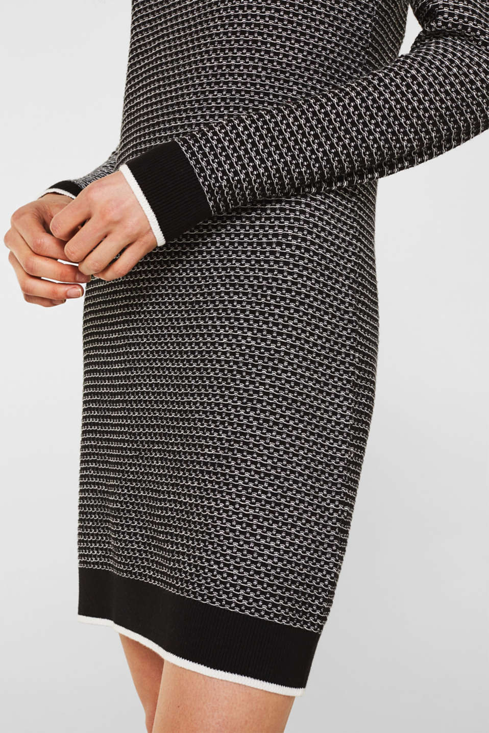 Knit dress with texture, 100% cotton, BLACK 2, detail image number 3