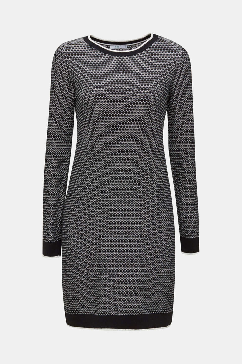 Knit dress with texture, 100% cotton, BLACK 2, detail image number 7