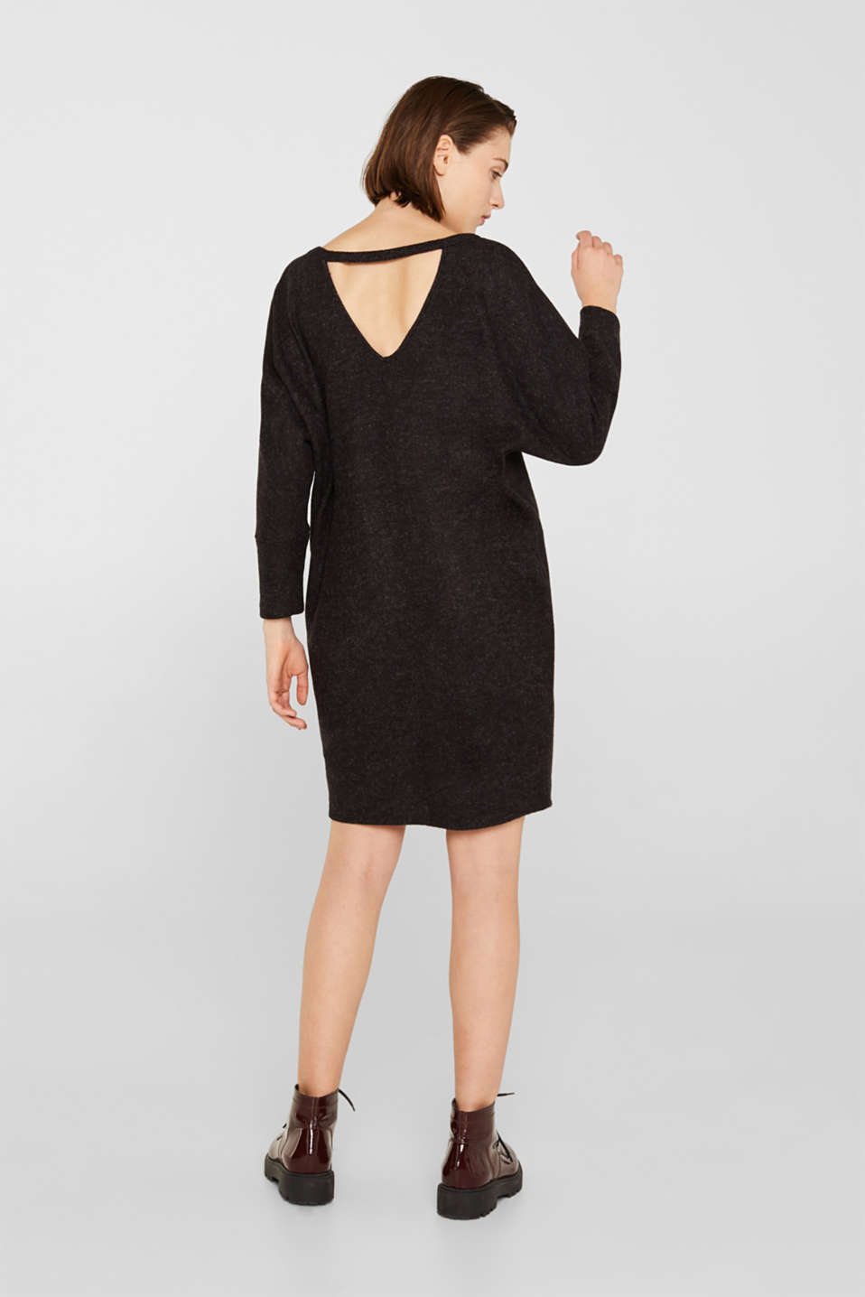 Fluffy stretch jersey dress, ANTHRACITE, detail image number 2