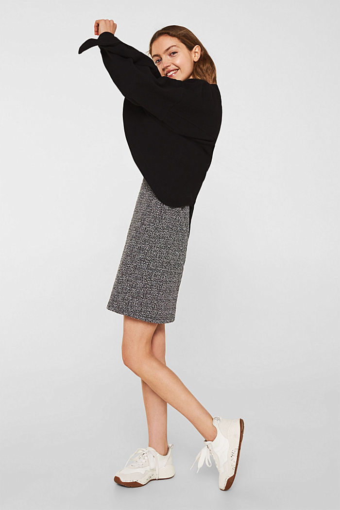 Sheath dress with a popcorn texture, BLACK, detail image number 6