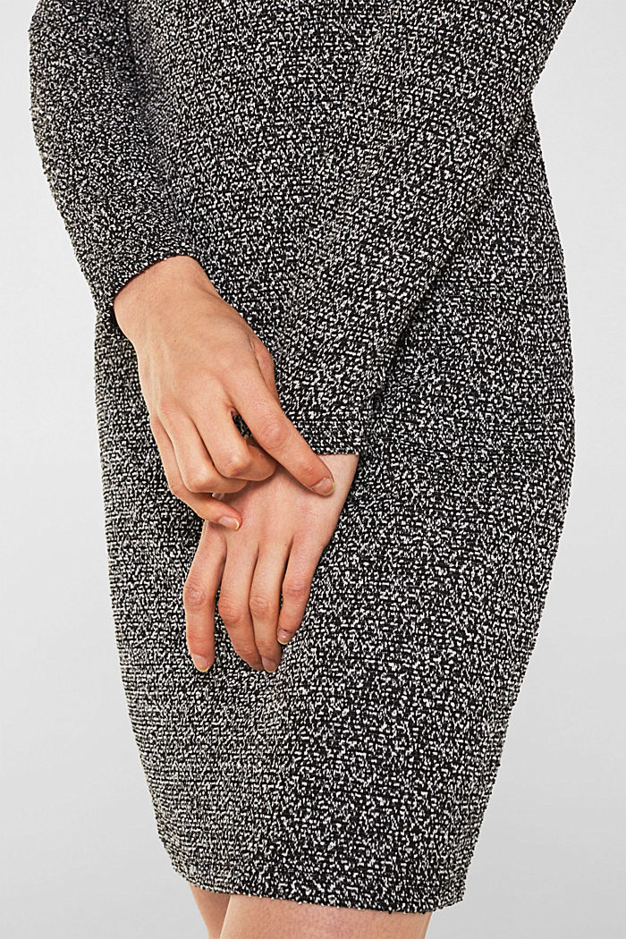 Sheath dress with a popcorn texture, BLACK, detail image number 3