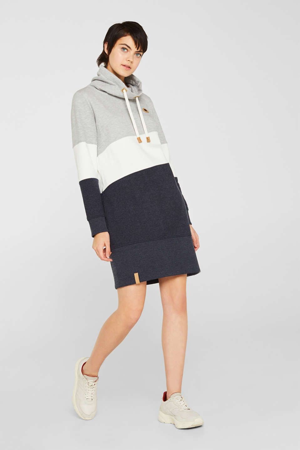 edc - Sweatshirt dress with a funnel collar