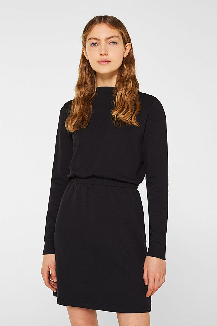 100% cotton sweatshirt dress, BLACK, detail image number 0