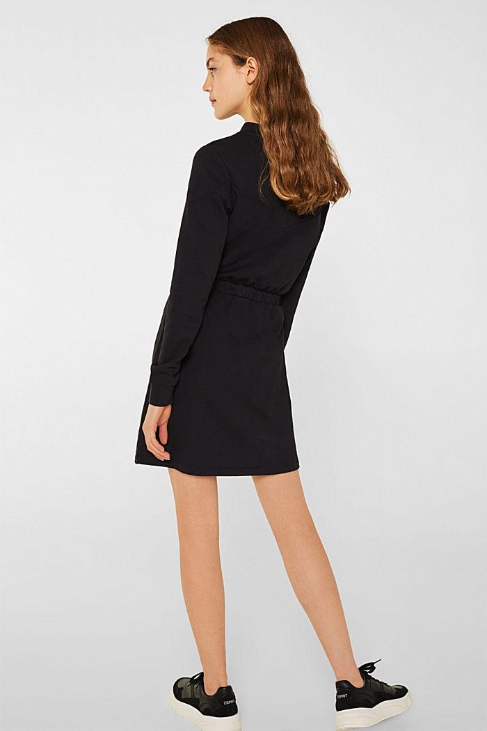 100% cotton sweatshirt dress, BLACK, detail image number 2