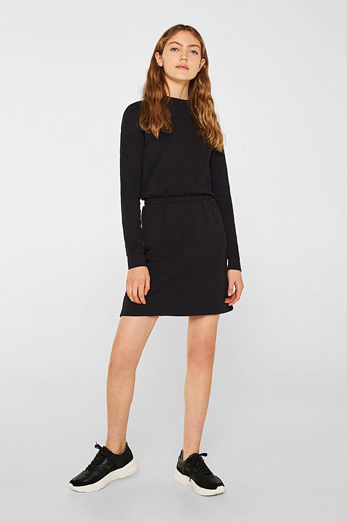 100% cotton sweatshirt dress, BLACK, detail image number 1