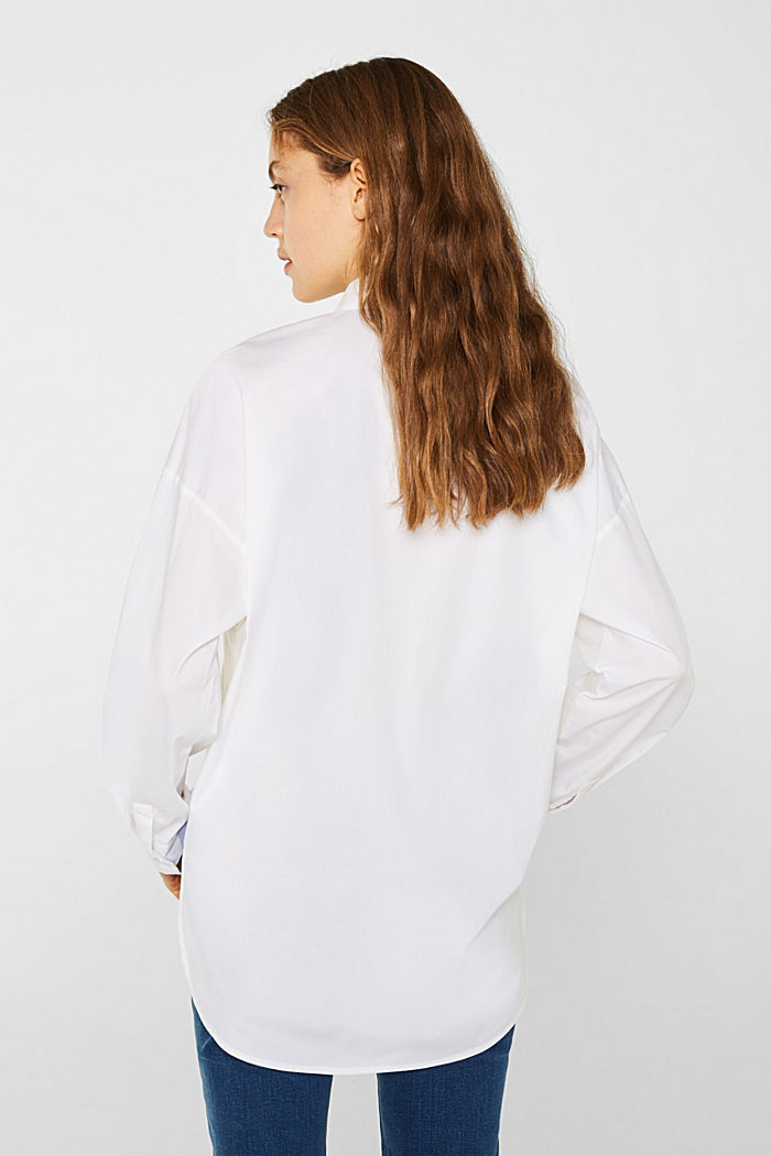 Oversized-Bluse mit Chambray-Details, WHITE, detail image number 3