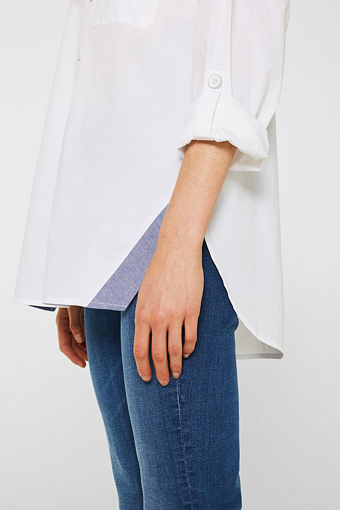 Oversized-Bluse mit Chambray-Details, WHITE, detail image number 2