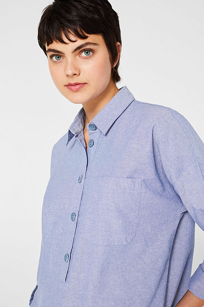 Pussycat bow blouse made of chambray, 100% cotton