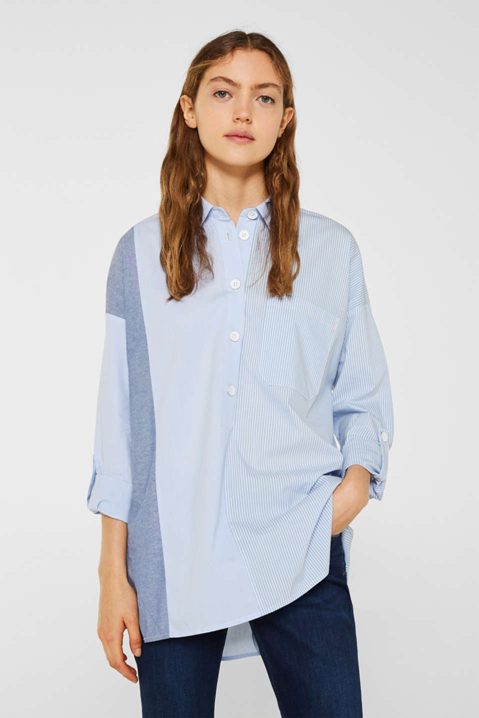 Oversized stretch blouse with mixed stripes, PASTEL BLUE, detail image number 0