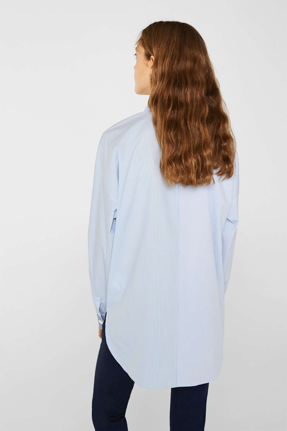 Oversized stretch blouse with mixed stripes, PASTEL BLUE, detail image number 3