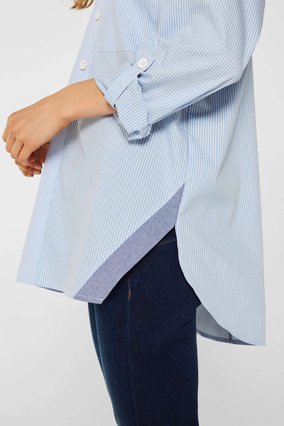Oversized stretch blouse with mixed stripes, PASTEL BLUE, detail image number 2