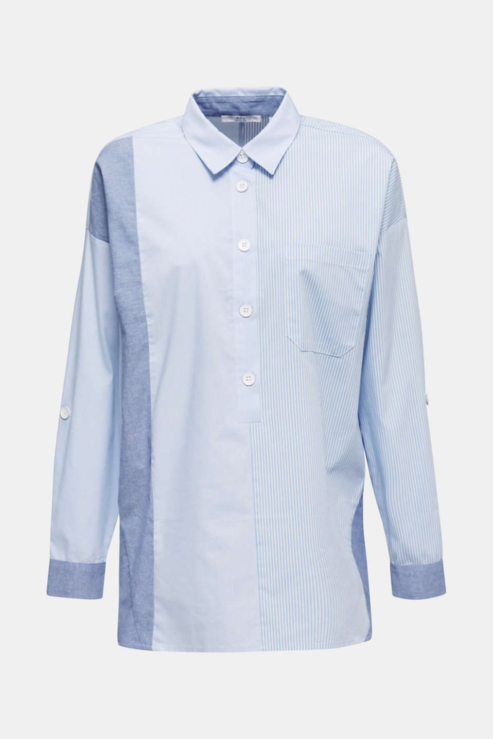 Oversized stretch blouse with mixed stripes, PASTEL BLUE, detail image number 5