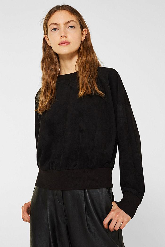 Short sweatshirt in faux suede, BLACK, detail image number 0
