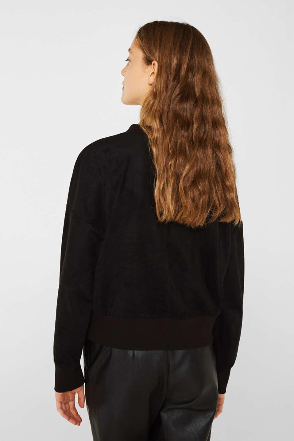 Short sweatshirt in faux suede, BLACK, detail image number 3