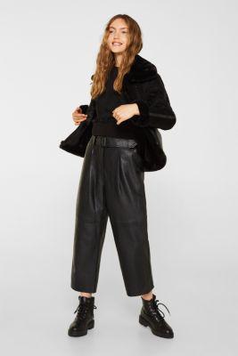 Short sweatshirt in faux suede, BLACK, detail
