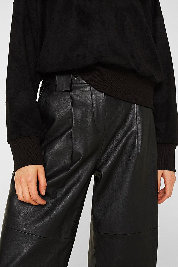 Short sweatshirt in faux suede, BLACK, detail image number 2