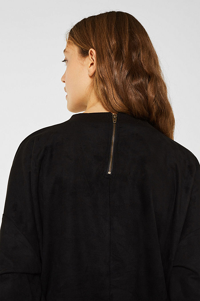 Short sweatshirt in faux suede, BLACK, detail image number 5