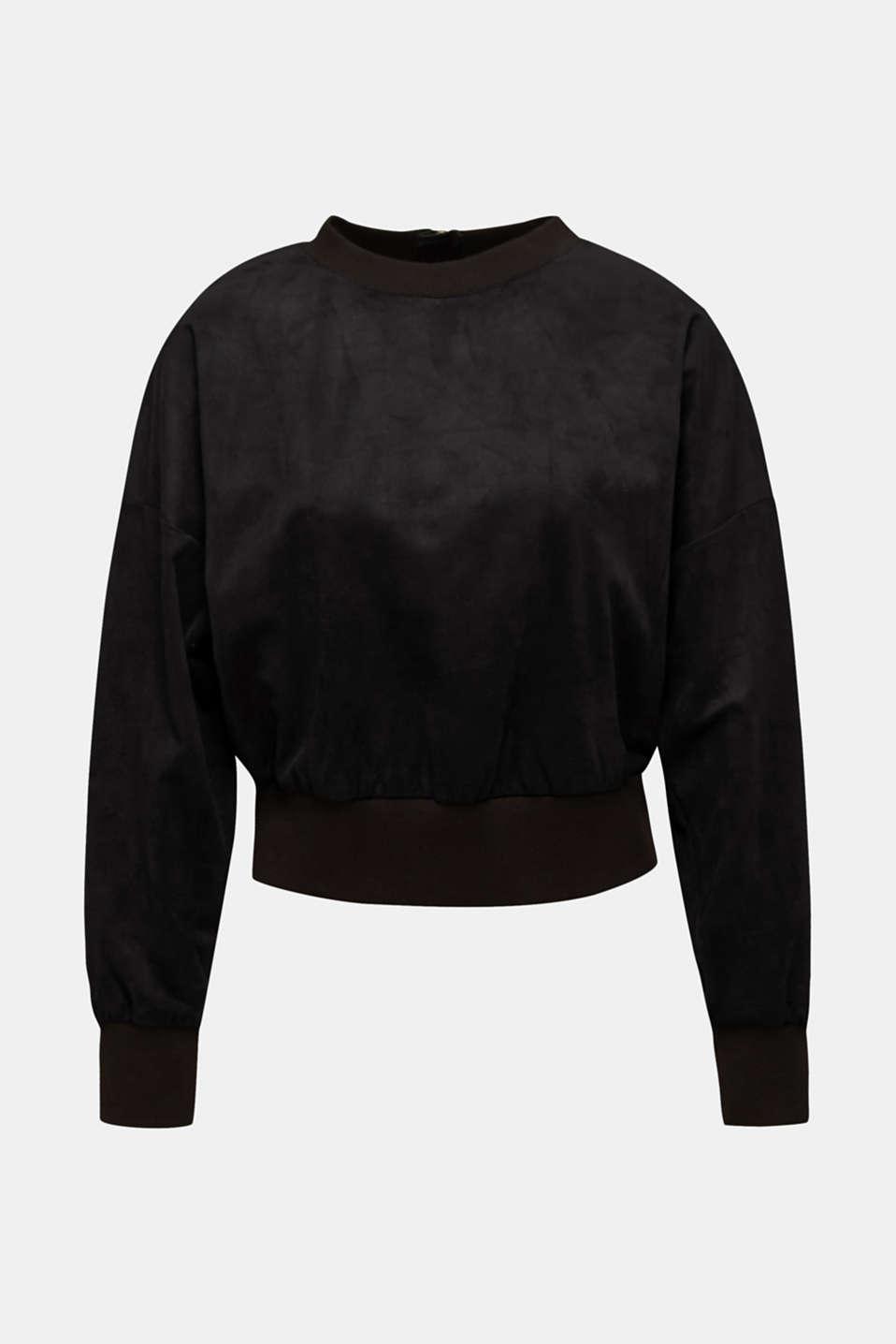 Short sweatshirt in faux suede, BLACK, detail image number 7