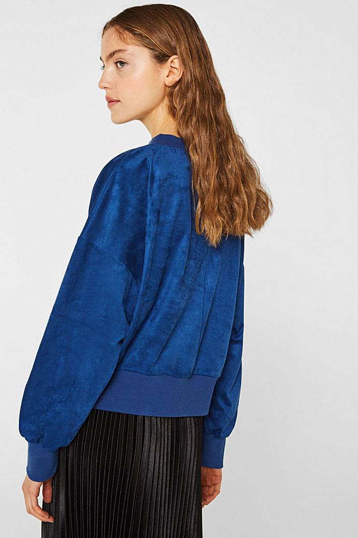 Short sweatshirt in faux suede, BRIGHT BLUE, detail image number 3