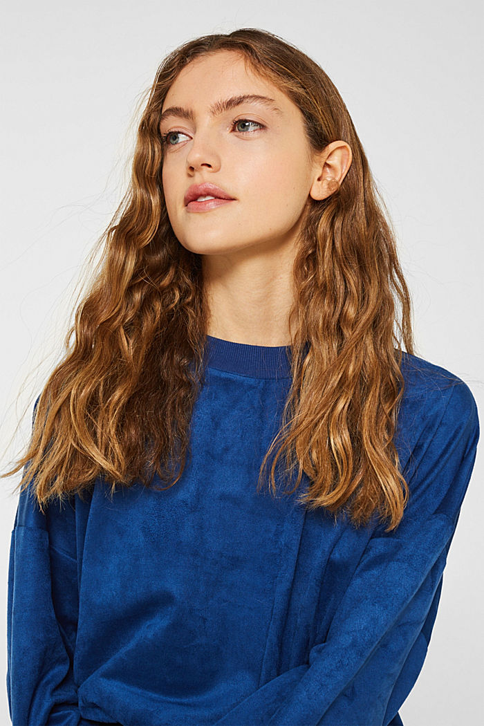 Short sweatshirt in faux suede, BRIGHT BLUE, detail image number 6