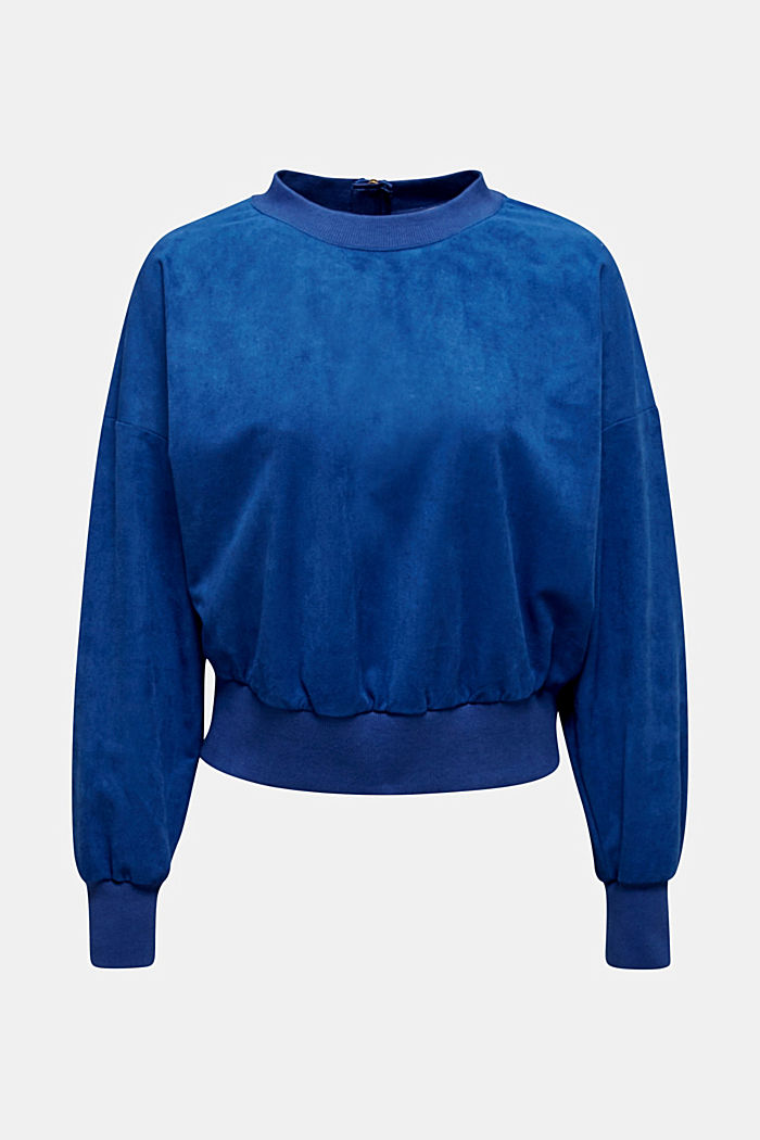 Short sweatshirt in faux suede, BRIGHT BLUE, detail image number 7