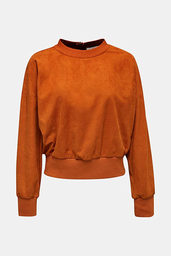 Short sweatshirt in faux suede, CINNAMON, detail image number 0