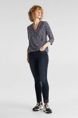Wrap blouse with LENZING™ ECOVERO™, NAVY 4, detail