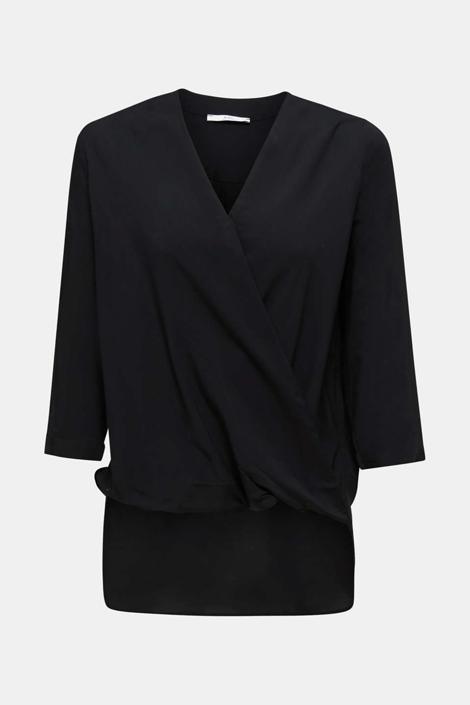 Blouse with LENZING™ ECOVERO™, BLACK, detail image number 6