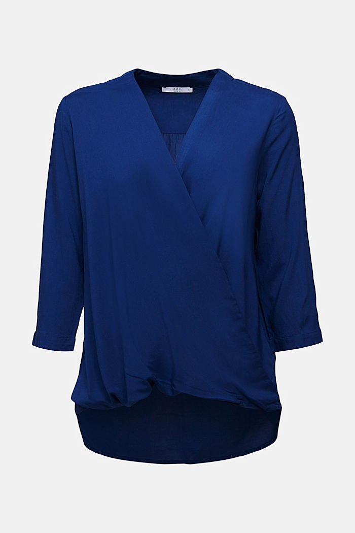 Blouse with LENZING™ ECOVERO™, DARK BLUE, detail image number 6