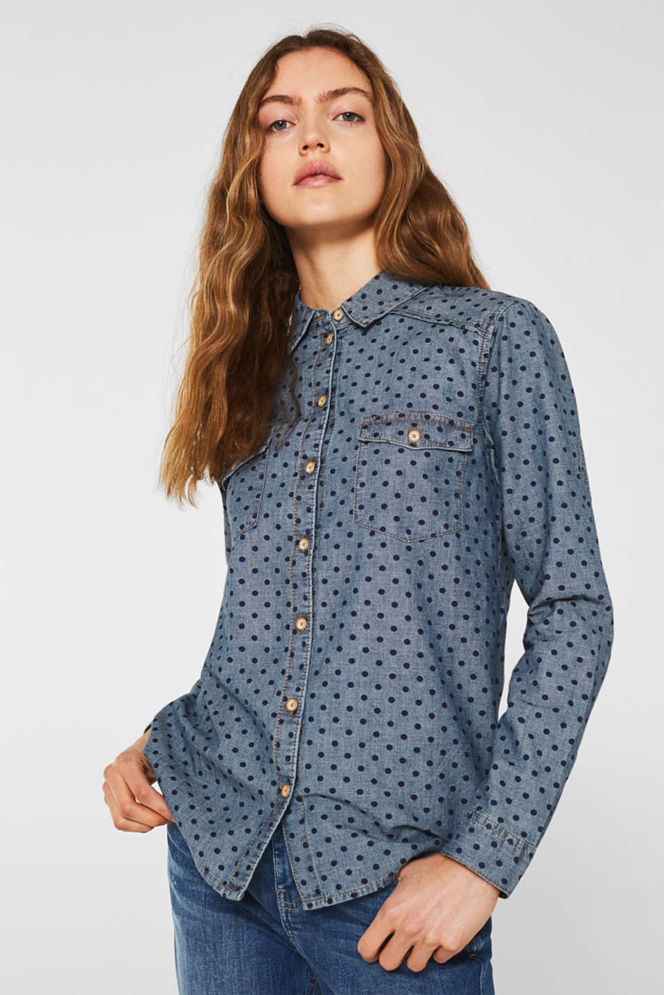 edc - Denim shirt blouse with print, 100% cotton