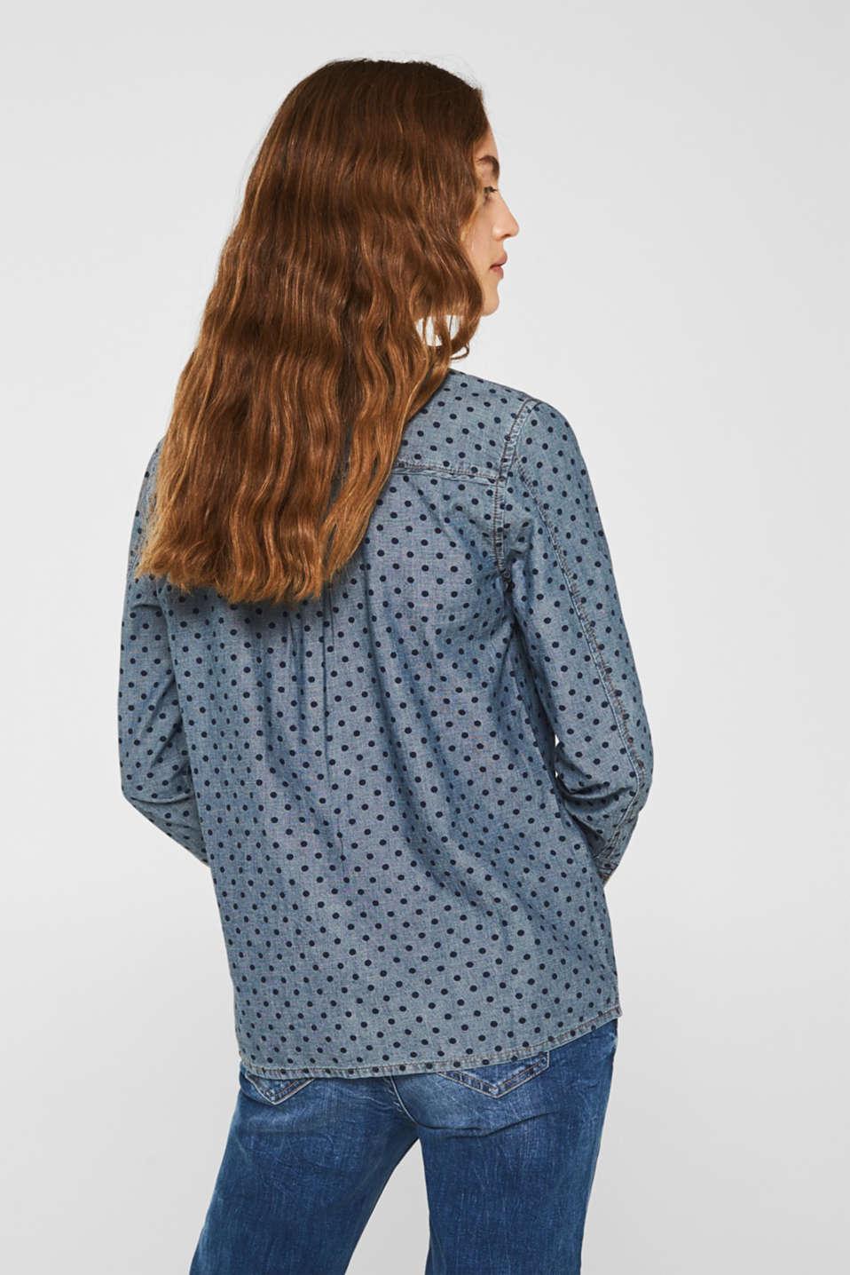 Denim shirt blouse with print, 100% cotton, BLUE MEDIUM WASH, detail image number 3