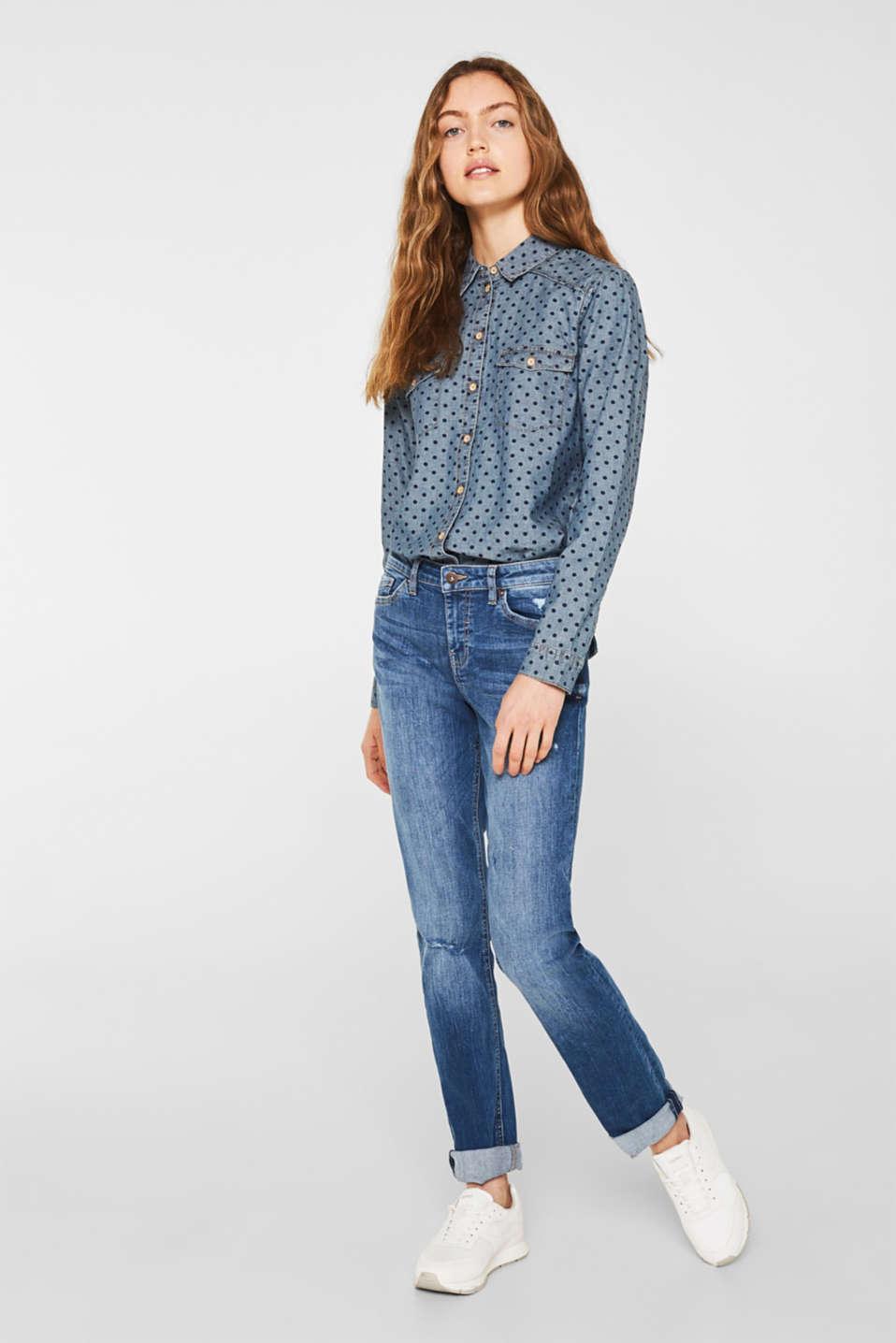 Denim shirt blouse with print, 100% cotton, BLUE MEDIUM WASH, detail image number 5