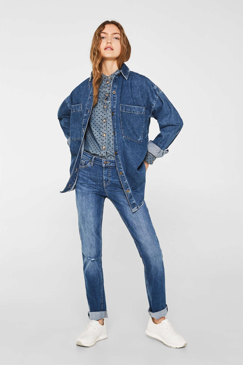 Denim shirt blouse with print, 100% cotton, BLUE MEDIUM WASH, detail image number 1